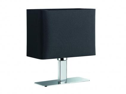 Tischleuchte in Chrom mit eckigem Stofflampenschirm in Schwarz, Wohnraumleuchte - Vorschau 1