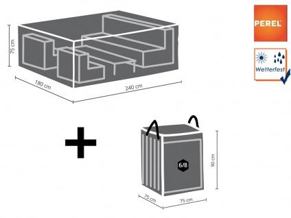 Schutzhüllen Set: Abdeckung 240x180cm für Garten Lounge + Hülle für 6-8 Kissen