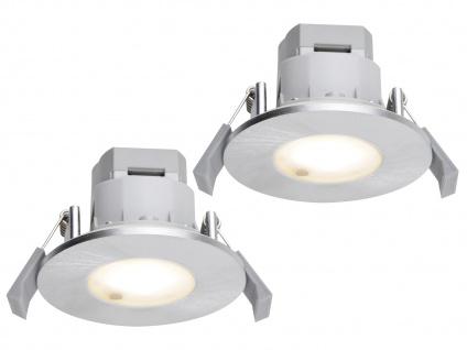 LED Einbaustrahler Decke 2er Set rund Aluminium gebürstet 5, 5W IP65 - Badlampen