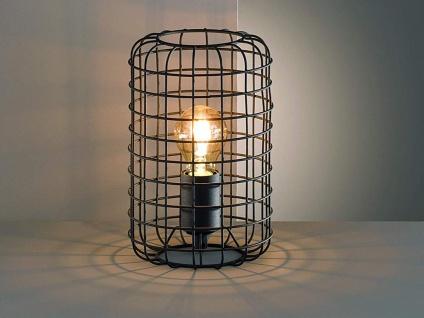 Vintage Tischleuchte 25cm mit Filament LED, Gitterlampe schwarz im Industrielook
