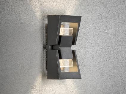 Dimmbare UP & DOWN LED Außenwandleuchte POTENZA Alu schwarz austauschbares LED