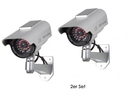 2er Set Kamera Attrappe, Solar, Batterie, IR-LEDs (Imitation), Dummy Kamera - Vorschau 2