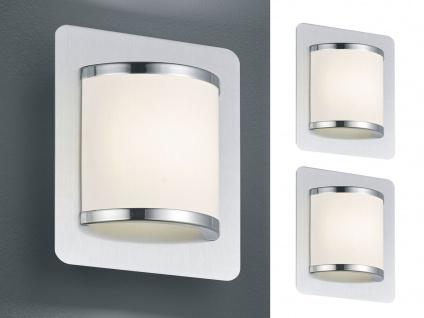 2 Moderne LED Innenwandlampen mit Schalter, Nickel matt Metall & Kunststoff weiß