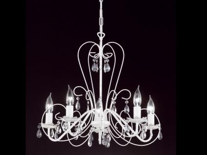 Moderner Kronleuchter in weiß, Glasbehang klar, Honsel-Leuchten, PRISMA - Vorschau 3