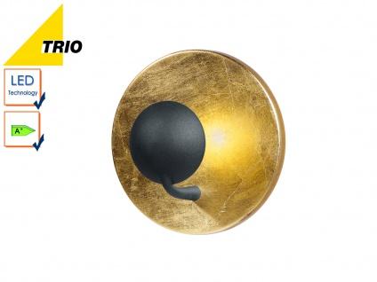 LED Wandleuchte Wandlampe AURORA, Goldfarbig, Schwarz, Ø 20 cm, 2x LED, Trio