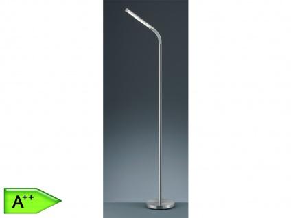 einfache LED Stehlampe Silber matt mit Flexgelenk Ein/Aus per TOUCH Stehleuchte