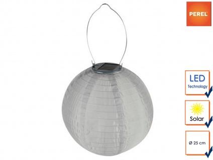 Weiße Solarlaterne Gartenlampion mit LED Ø25cm Wetterfest Terrassenbeleuchtung