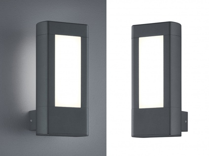 2er SET Eckige LED Außenwandlampen aus Aluminium in Anthrazit & Acrylglas, IP54
