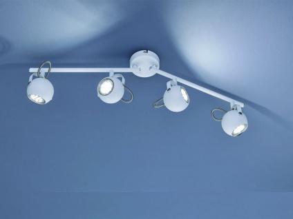Moderne Deckenleuchte Strahler 4 flammig in weiß matt mit schwenkbaren Spots