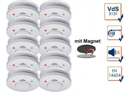 10er-Set 10 Jahres VdS Brandmelder Stummschaltfunktion + Magnethalter