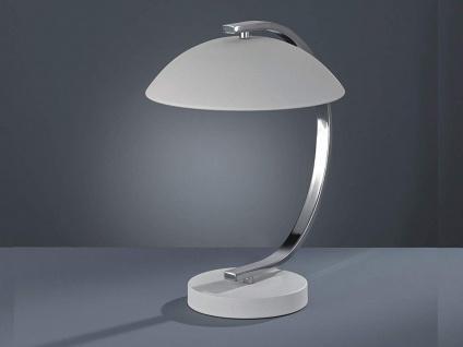 LED Tischleuchte Retro Design 1flammig Metall Weiß matt / Silber Höhe 35cm Ø25cm