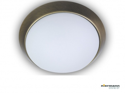 Deckenleuchte / Deckenschale, Opalglas matt, Dekorring Altmessing, Ø 45cm