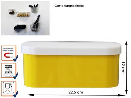 Kunststofftopf mit Deckel und Magnet, B. 22cm Gelb, Wandaufbewahrung, KalaMitica
