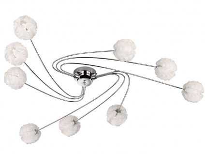 Design Deckenleuchte 9 Kugelschirme Kunststoff Weiß G9 Fassung Wohnzimmerleuchte