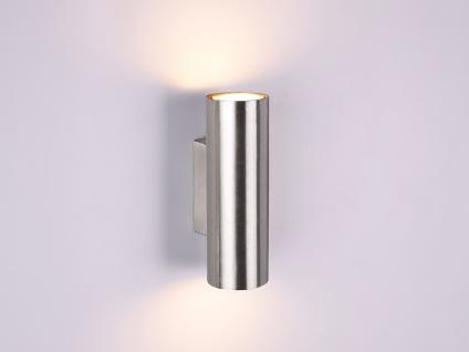 Wandleuchte Up and Down aus Metall Silber mit dimmbaren LEDs, Strahler für Innen