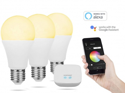 3er Set intelligente E27 Funk Leuchtmittel Smarthome PRO - dimmbar & Lichtfarbe