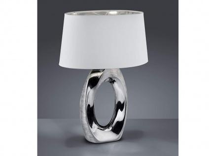 Große LED Tischleuchte 1 flammig Keramikfuß silberfarbig Schirm Weiß Höhe 52cm