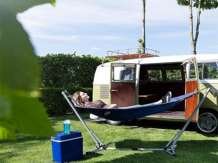 Leichte Reisehängematte mit Ständer für Camping & Garten Freizeitliege + Flasche