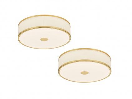 Switch Dimmer LED Deckenleuchten im 2er SET, Stoffschirmlampen in Messing & Weiß