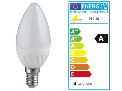Kleine LED Tischlampe chrom mit Lampenschirm Stoff blau, Nachttischlampe Design - Vorschau 4