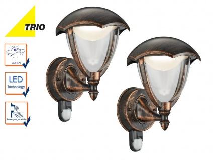 2Stk Trio LED Außenlampen Laterne GRACHT mit Bewegungsmelder, Design rost antik