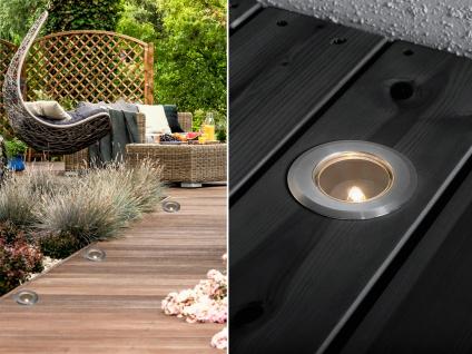 3er SET Mini LED Bodenspots Edelstahl Ø7cm Einbaustrahler für Garten & Terrasse