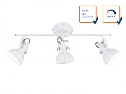 LED Deckenstrahler 3 flammig im Retro Look aus Metall in Weiß, dreh + schwenkbar - Vorschau 3
