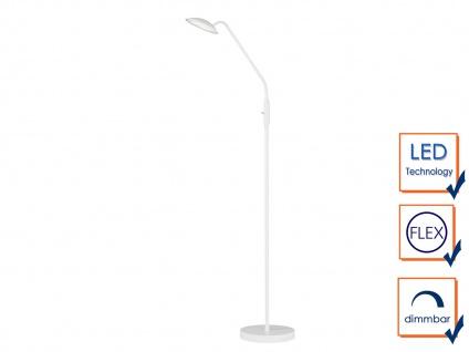 Flexible LED Stehhleuchte Leselampe Weiß 12W H. 150cm - moderne Wohnzimmerlampe - Vorschau 4