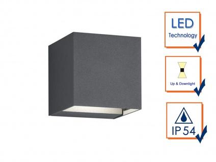 Up & Down LED Außenwandleuche aus ALU in anthrazit Kubus Gartenlicht IP54, H 8cm - Vorschau 3