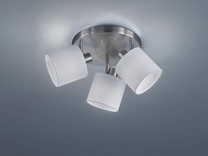 Deckenstrahler 3 flammig, schwenkbar mit Stoff Lampenschirm in Weiß Wandstrahler