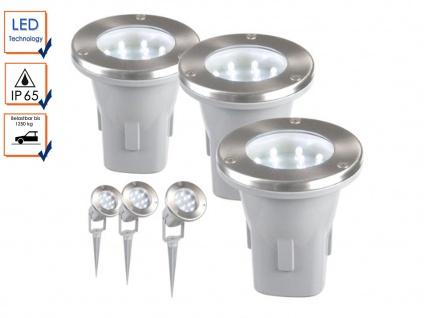 3er Set LED Außenleuchte Verwendung mit Erdspieß oder Bodeneinbau IP65 Garten