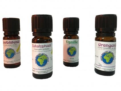 Duftöl Set Naturrein mit 4 Düften Vanille, Orange, Eukalyptus, Zimt, je 10ml