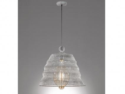 Design LED Pendelleuchte mit Lampenschirm betonfarbig 47cm moderne Esstischlampe