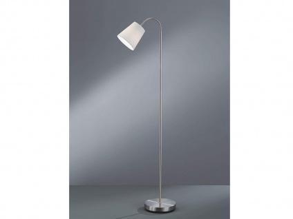 1 flammige Stehleuchte flexibel Silber mit Stoffschirm Ø15cm in Weiß Höhe 140cm