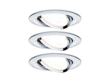 Schwenkbare GU10 LED Einbaustrahler Decke 3er Set rund 68mm Chrom glänzend 6, 5W