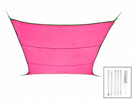Sonnensegel Rechteckig 3x4m Pink mit Stangenset für den Garten Sonnenschutzsegel