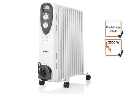 2500W Elektroheizung mit Rollen & Thermostat, Ölradiator Raumheizung 13 Rippen