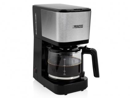 Kaffeemaschine Schwarz mit Edelstahl - Permanentfilter & Glaskanne für 12 Tassen