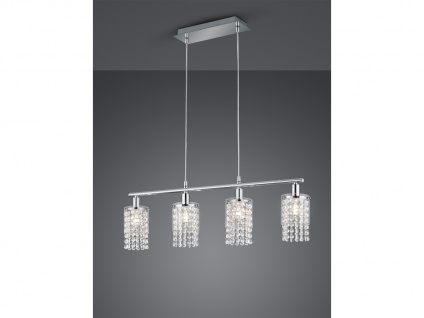 LED Pendelleuchte 4 flammig Chrom, Glaslampenschirm mit Acryl Kristall Behang