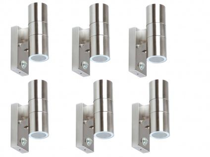 6er Pack LED Edelstahl Außenwandlampen mit Bewegungsmelder, Fassadenbeleuchtung