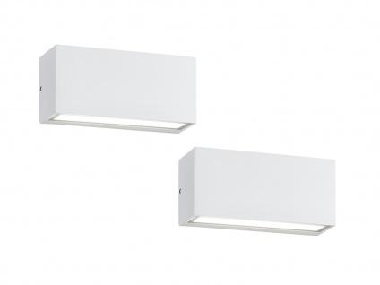 2LED Wandlampen für innen & außen mit Up- & Downbeleuchtung, Aluminium matt weiß