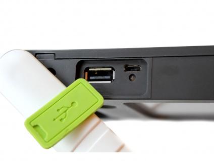 Universal LED Solarleuchte mit USB Ein- & Ausgang dimmbar IP44 H. 18cm Orange - Vorschau 4