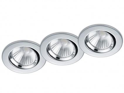 3 LED Einbaustrahler Decke rund Ø 8, 5cm schwenkbar dimmbar Chrom glänzend 5, 5W