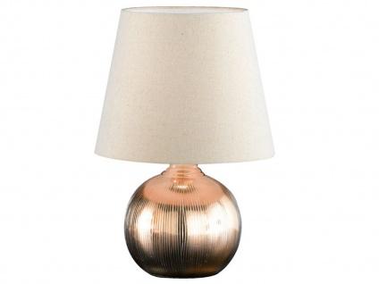 Keramik Tischleuchte ELY goldfarben 43cm Lampenschirm Stoff Tischlampe klassisch