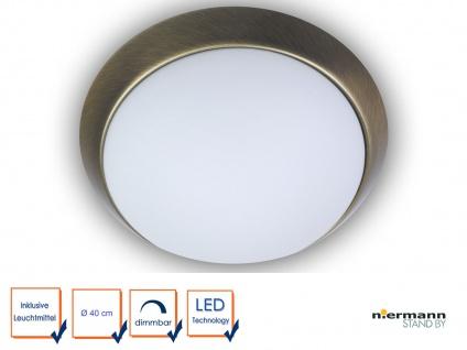 Design LED Deckenleuchte Landhausleuchte Leuchte rund Ø40cm Dekorring Altmessing