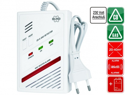 2-in-1 Kombi-Detektor, Kohlenmonoxid-Melder und Gas-Melder Elro RM337