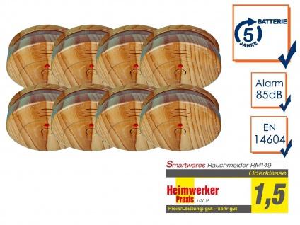 8er SET Brand-Melder Holzoptik 5 Jahres Batterie, EN14604 geprüft, Alarm Feuer