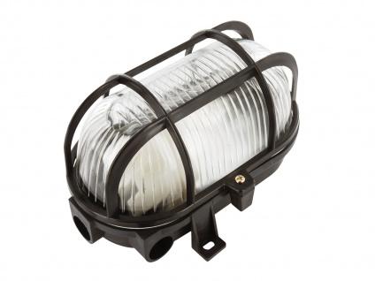 Ovale Kellerleuchte mit Schutzgitter & LED Leuchtmittel dimmbar, schwarz, IP44