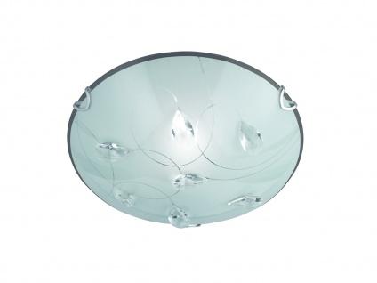 LED Deckenschale aus Chrom, Glasschirm in weiß mit ausgefallener Glasdeko E27