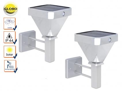 2er Set LED Außenwandleuchten Solar mit Bewegungsmelder, Außenbeleuchtung Haus